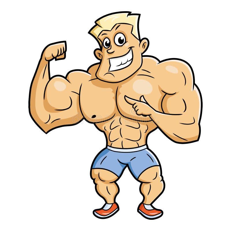 Het glimlachen bodybuilder het stellen vector illustratie