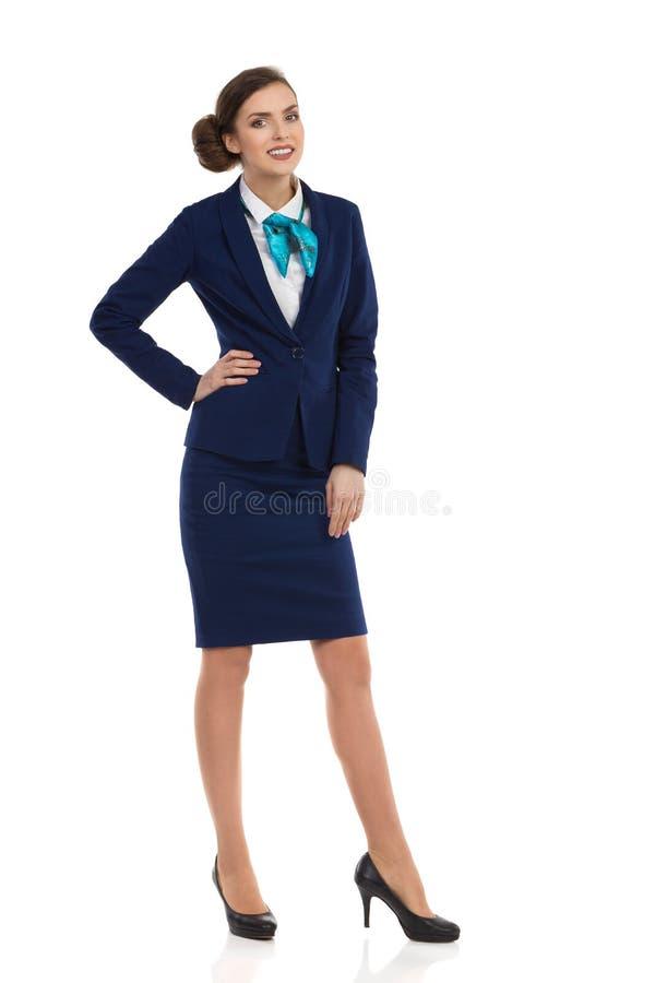 Het glimlachen Busnesswoman Volledige Geïsoleerde Lengte royalty-vrije stock afbeeldingen