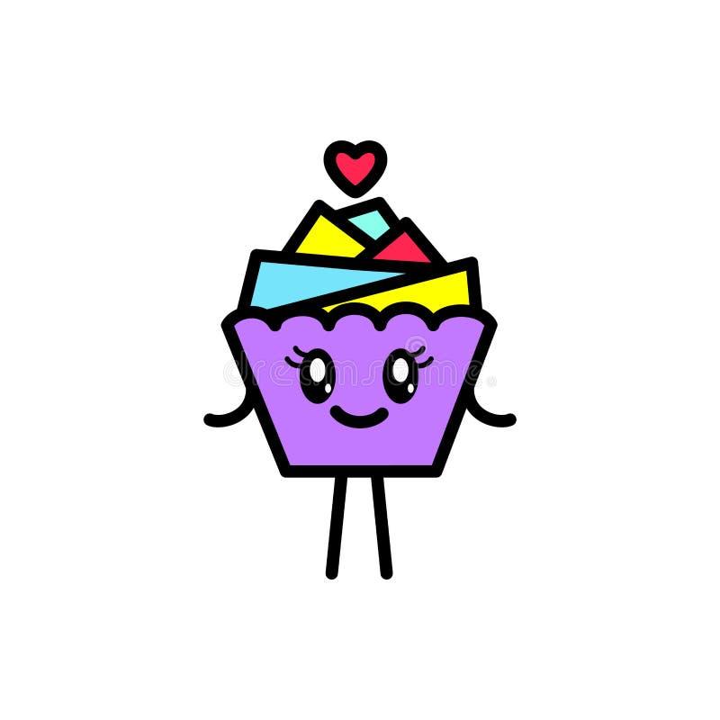Het glimlachen cupcake met armen en benen op een witte achtergrond stock illustratie
