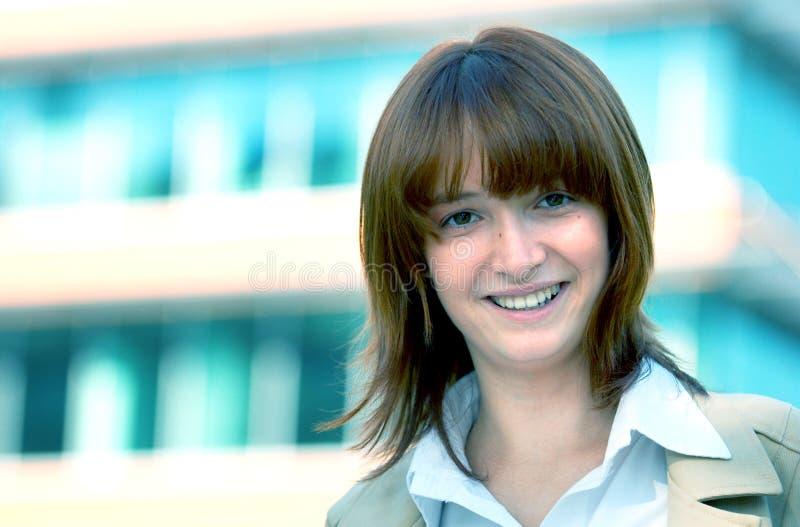 Het glimlachen de Blauwe Tint van de Onderneemster royalty-vrije stock afbeelding