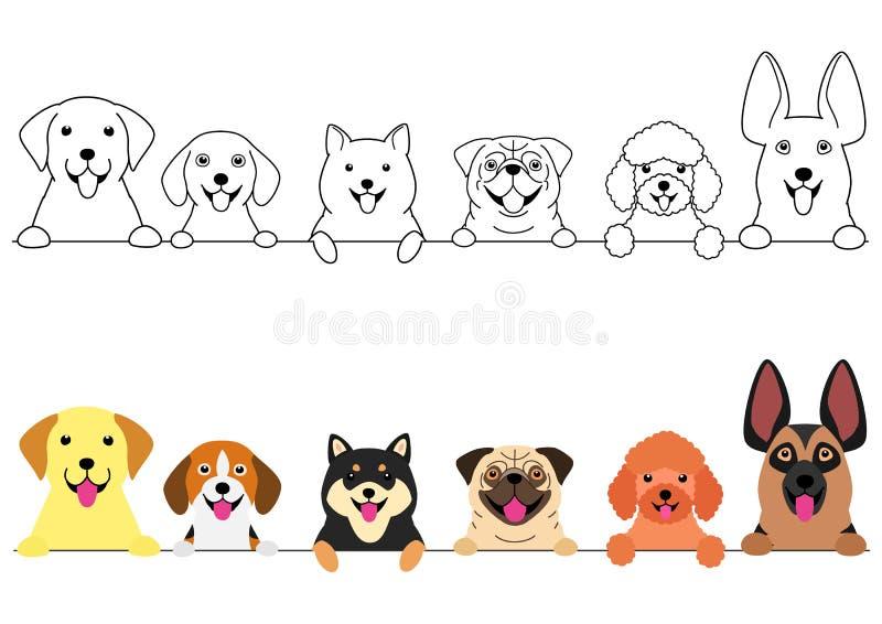 Het glimlachen de grote en kleine reeks van de hondengrens royalty-vrije illustratie