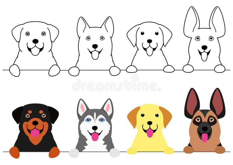 Het glimlachen de grote reeks van de hondengrens vector illustratie