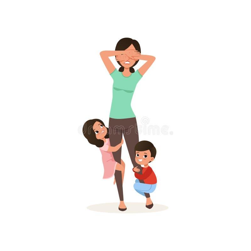 Het glimlachen de jonge geitjes willen met hun vermoeide moeder, het concept van de ouderschapspanning, verhouding tussen kindere vector illustratie