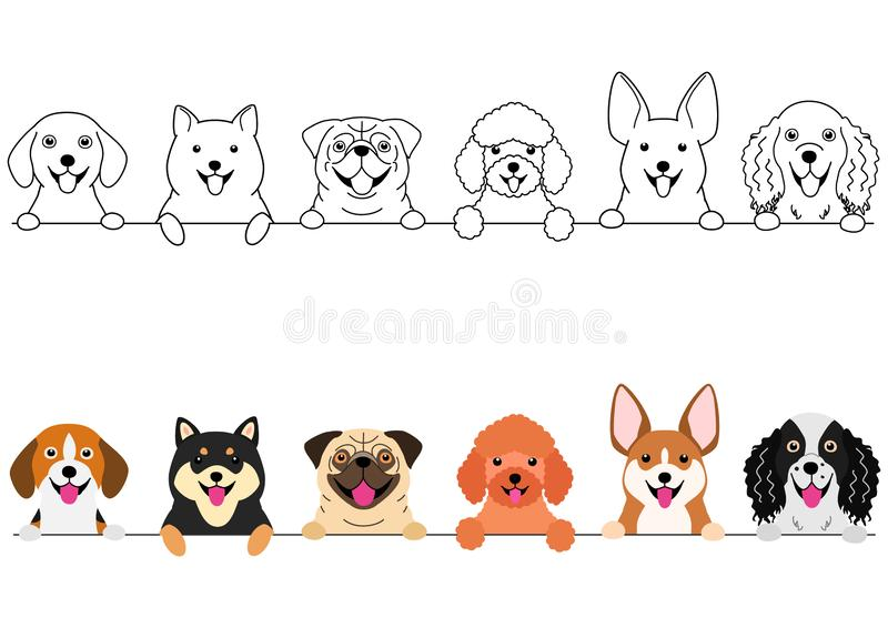 Het glimlachen de kleine reeks van de hondengrens royalty-vrije illustratie