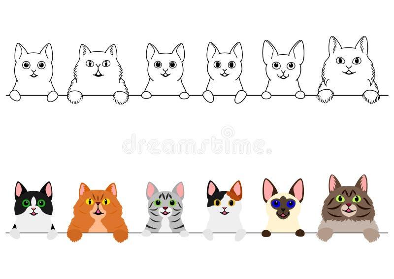 Het glimlachen de leuke reeks van de kattengrens vector illustratie