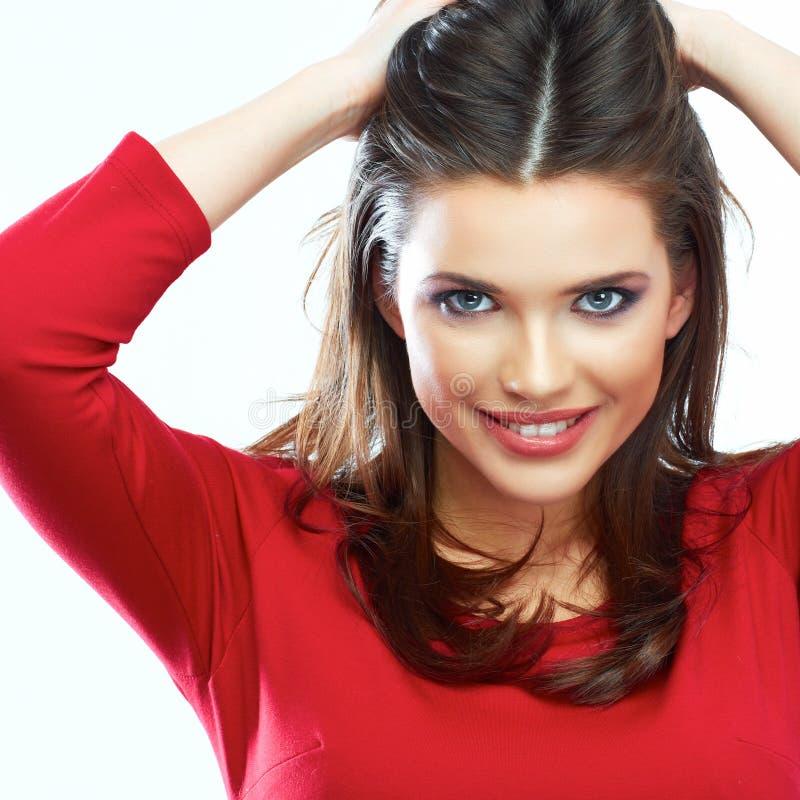 Het glimlachen de schoonheidsportret van het vrouwenhaar Mooie het glimlachen meisjesisol royalty-vrije stock foto's