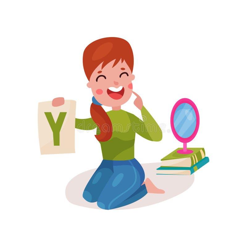 Het glimlachen de vrouwelijke zitting van de toespraaktherapeut op de vloer die brief Y die, leraar tonen met kinderen bij kleute stock illustratie