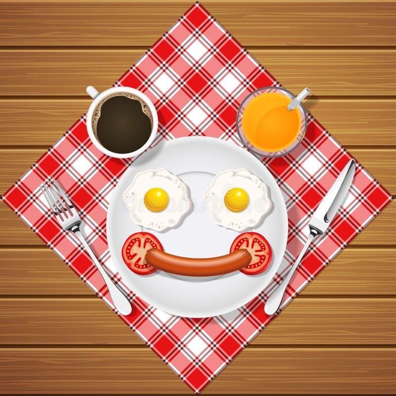 Het glimlachen draagt maakt met gebraden eieren en worst en drank vector illustratie