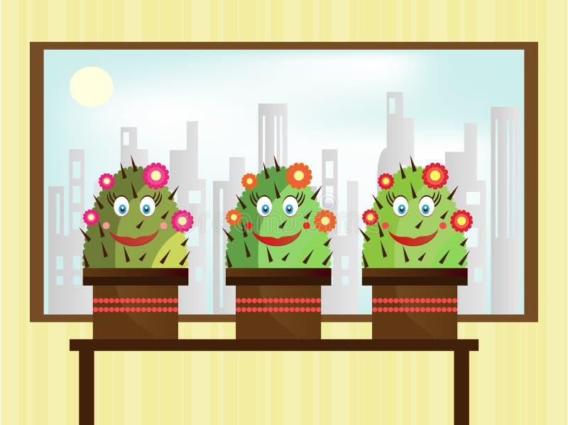 Het glimlachen drie cactus vector illustratie