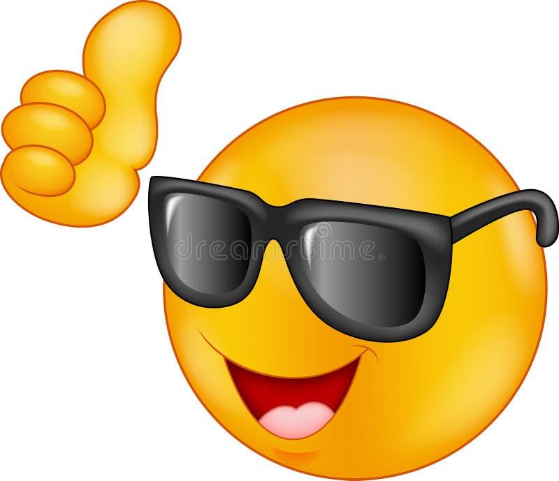 Het glimlachen emoticon dragend zonnebril die duim opgeven royalty-vrije illustratie