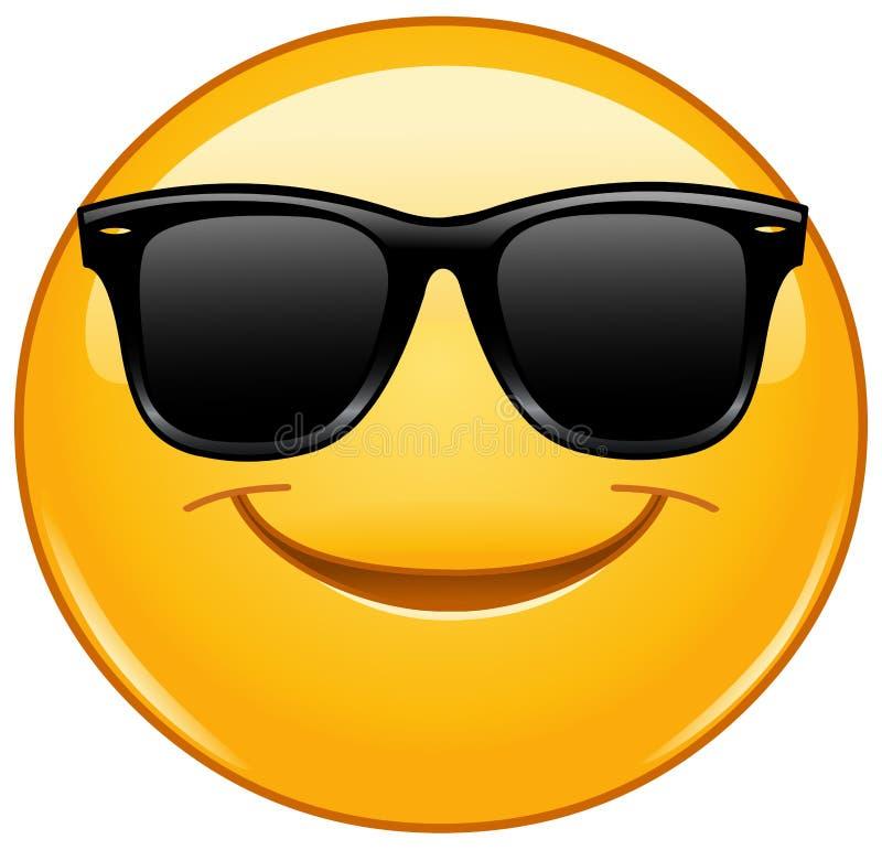 Het glimlachen emoticon met zonnebril