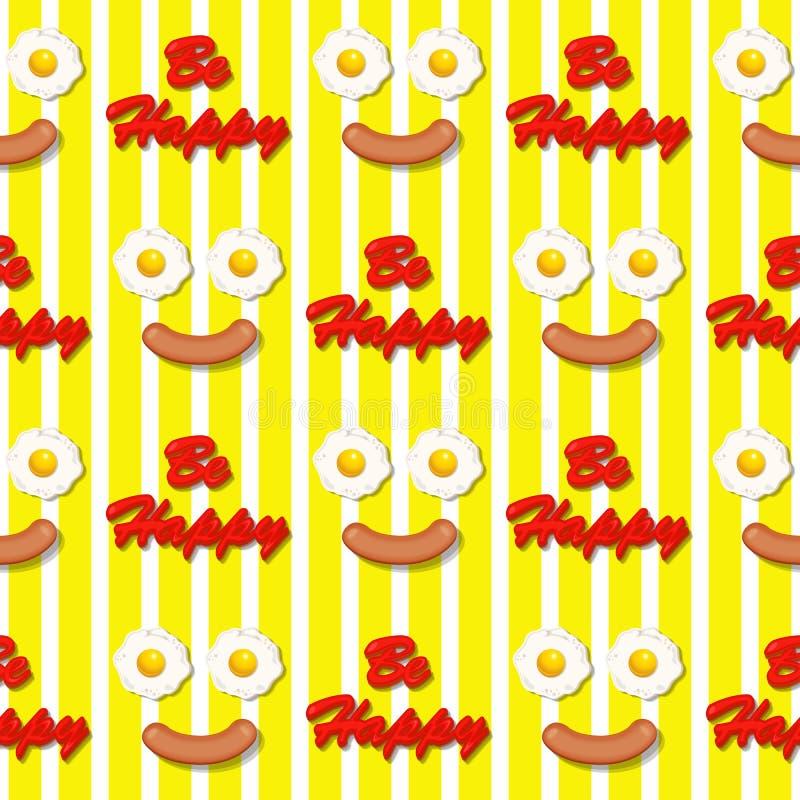 Het glimlachen facer maakt met gebraden eieren en worst naadloos patroon vector illustratie