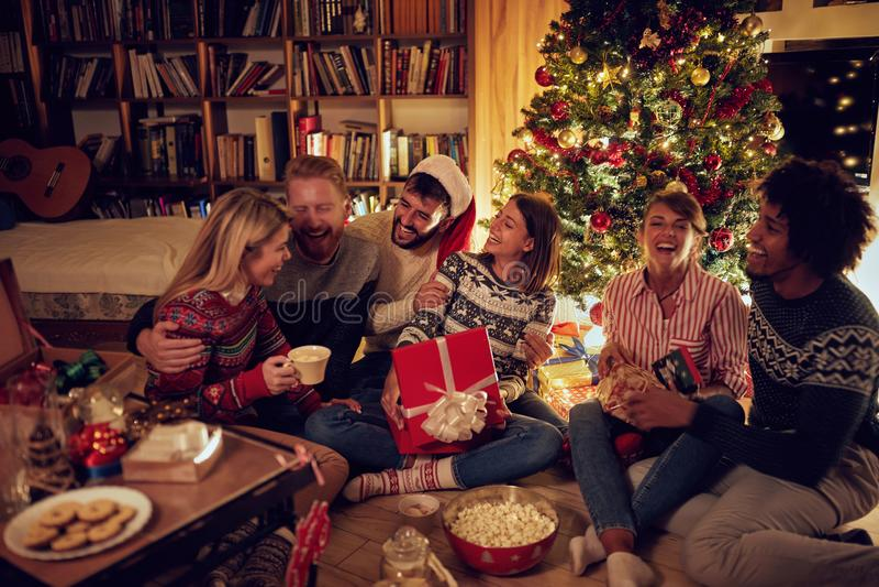 Het glimlachen frineds samen door Kerstboom stock fotografie