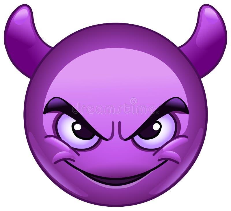 Het glimlachen gezicht met hoornen emoticon stock illustratie