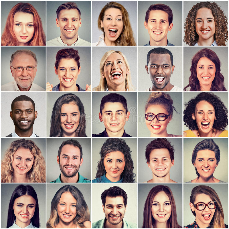 Het glimlachen Gezichten Gelukkige groep multi-etnische mensen royalty-vrije stock foto's
