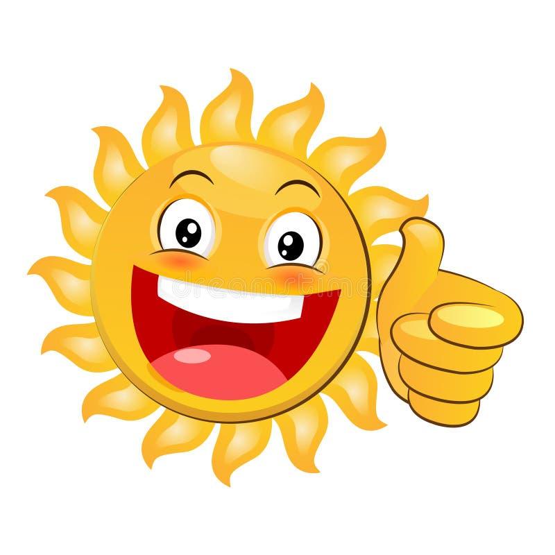 Het glimlachen het Gele Gelukkige Zon Geven Duimen omhoog Beeldverhaalvector op witte achtergrond stock illustratie