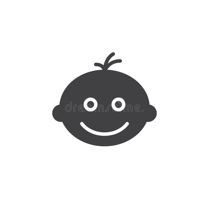 Het glimlachen het pictogram vector, gevuld vlak teken van het babygezicht, stevig die pictogram op wit wordt geïsoleerd stock illustratie