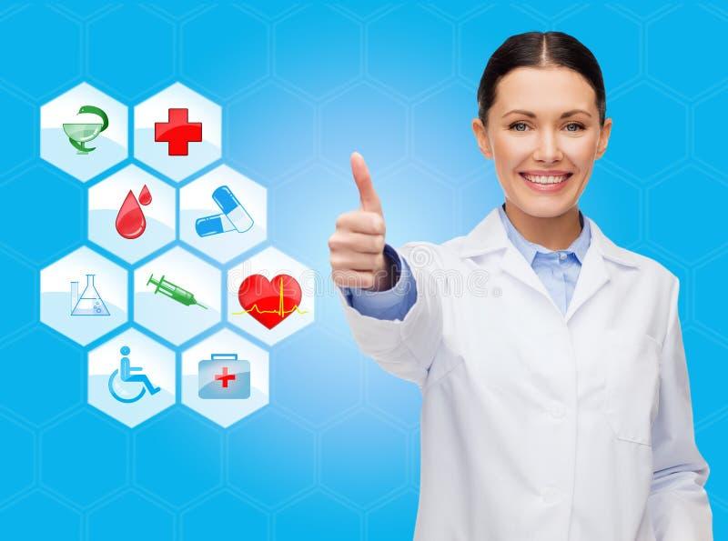 Het glimlachen het vrouwelijke arts omhoog beduimelt tonen royalty-vrije illustratie