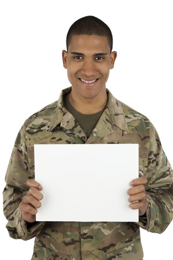 Het glimlachen het zwarte teken van de militairholding stock afbeelding