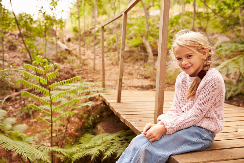 Het glimlachen jonge meisjeszitting op een houten brug in een bos royalty-vrije stock afbeelding