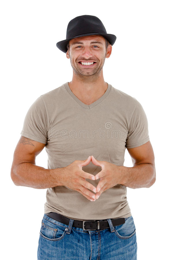 Het glimlachen jonge mens het gesturing royalty-vrije stock foto's
