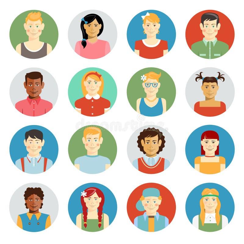 Het glimlachen kinderen vectoravatar reeks royalty-vrije illustratie