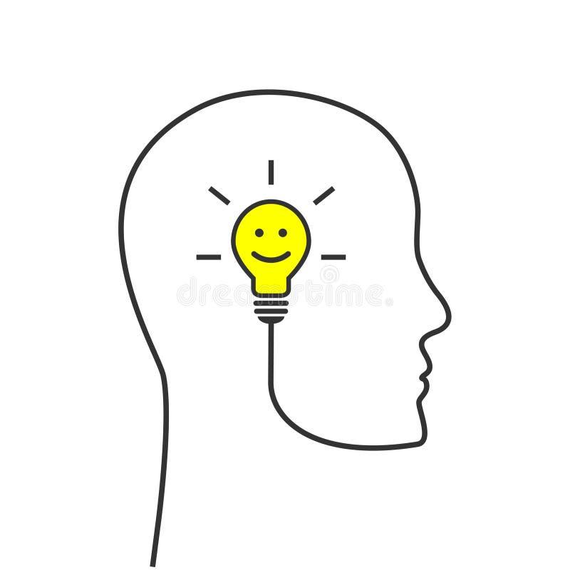 Het glimlachen lightbulb met hoofdsilhouetconcept vector illustratie