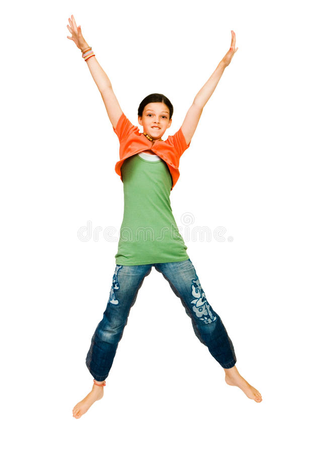 Het glimlachen meisje het springen royalty-vrije stock fotografie