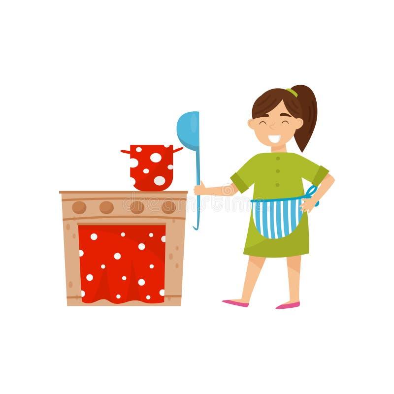 Het glimlachen meisje het spelen met kartonstuk speelgoed keukenoven Weinig huisvrouw met in hand gietlepel Vlak vectorontwerp royalty-vrije illustratie