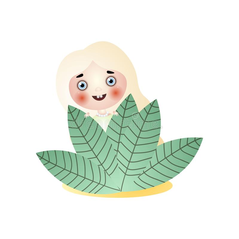Het glimlachen het meisjesverblijf van de blondefee onder bladeren stock illustratie