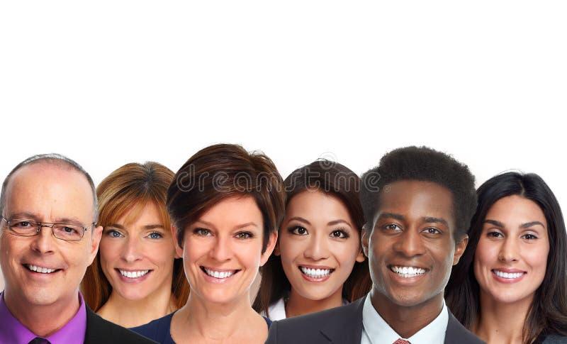 Het glimlachen mensengezichten stock fotografie