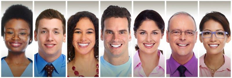 Het glimlachen mensengezichten stock foto's