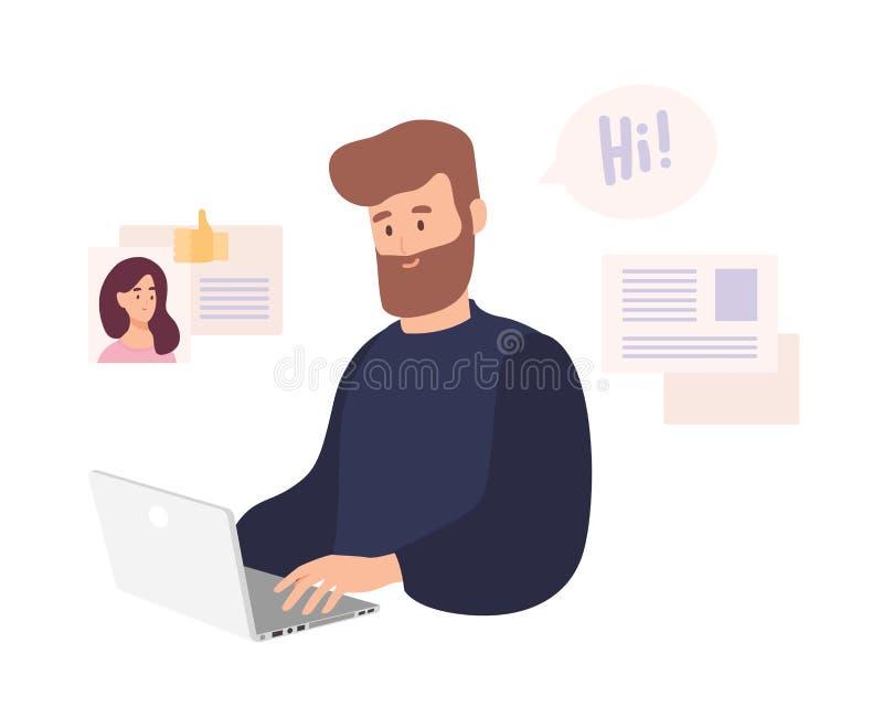 Het glimlachen mensenzitting bij computer en het gebruiken daterend website om te babbelen of zoekend naar meisje op Internet Leu royalty-vrije illustratie