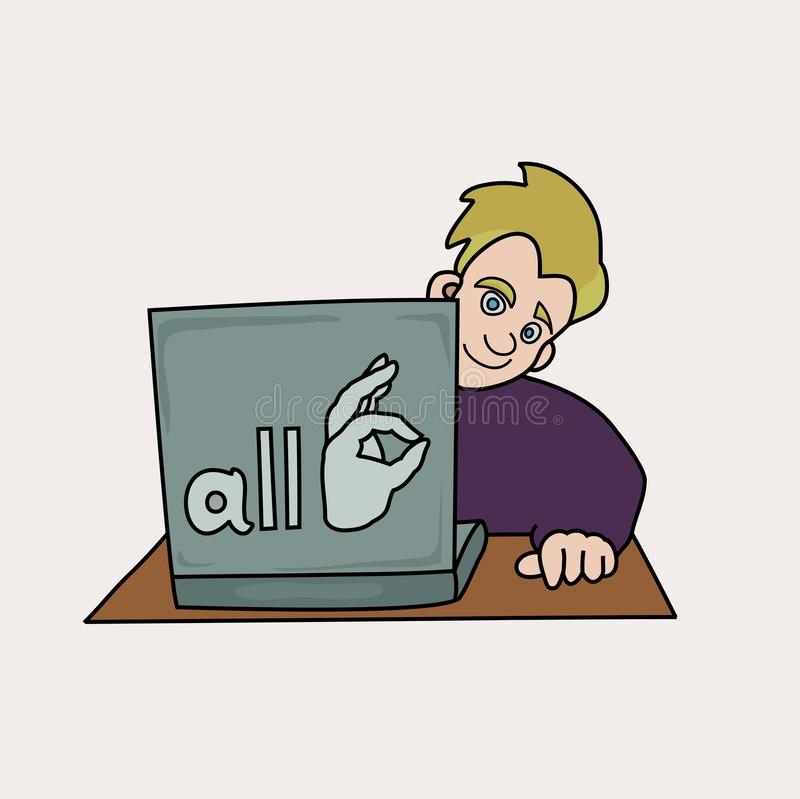 Het glimlachen mensenzitting met laptop vectorillustratie stock illustratie