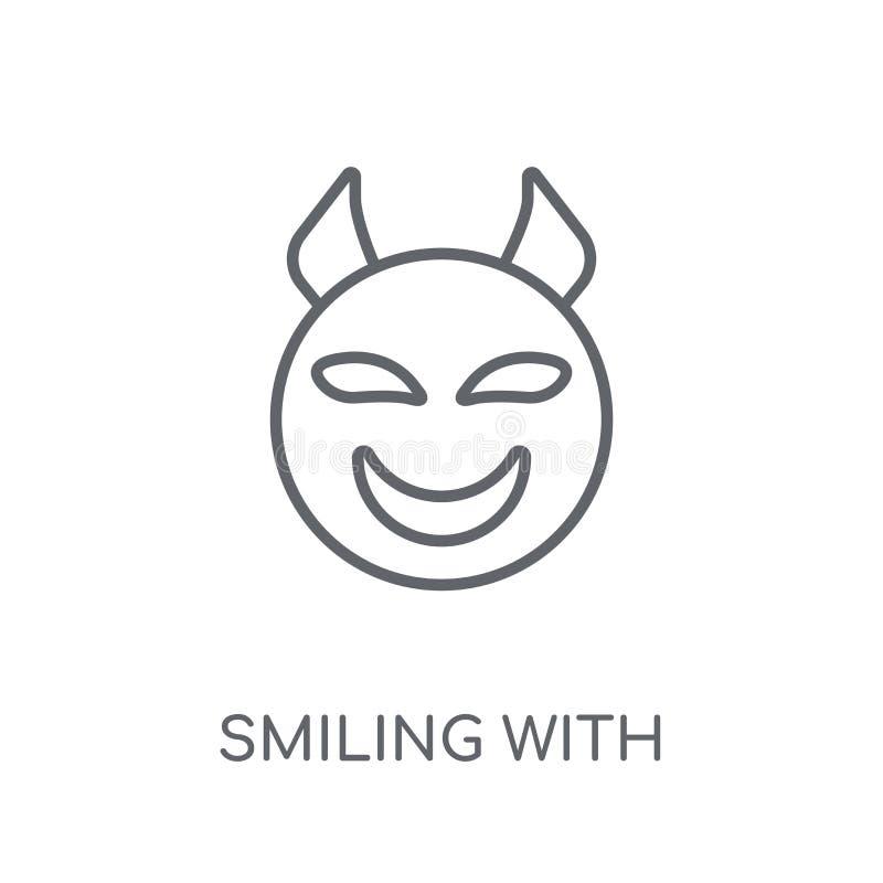 Het glimlachen met het lineaire pictogram van Hoornenemoji Modern overzicht het Glimlachen Verstand stock illustratie