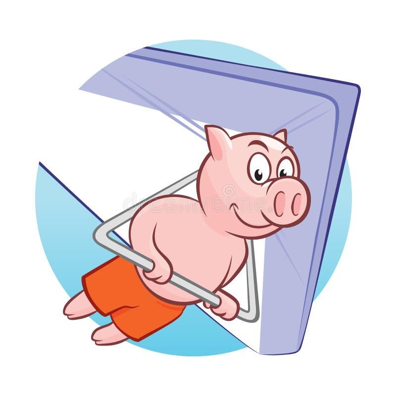 Het glimlachen het piggy vliegen op deltavlieger vectorillustratie royalty-vrije illustratie