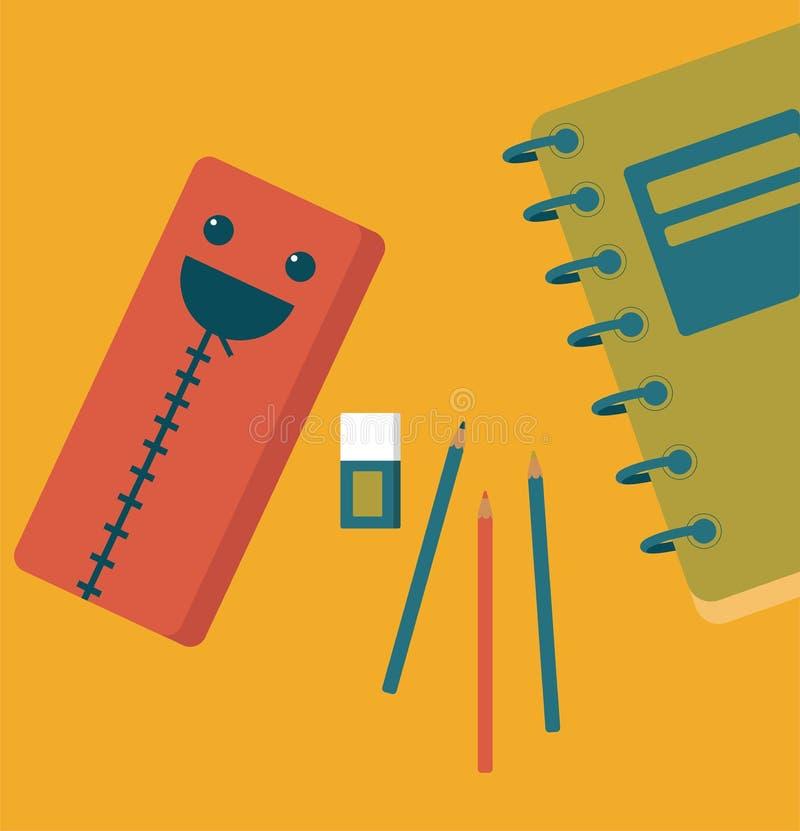 Het glimlachen potloodgeval, gom, notitieboekje op gele achtergrond Terug naar School royalty-vrije illustratie