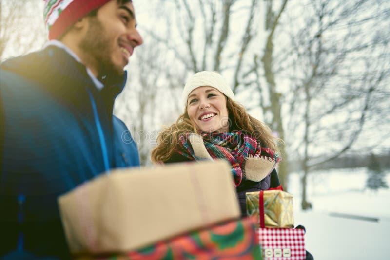 Het glimlachen stelt diverse Kerstmis van de paarholding terwijl het lopen door een de winterbos voor stock foto's