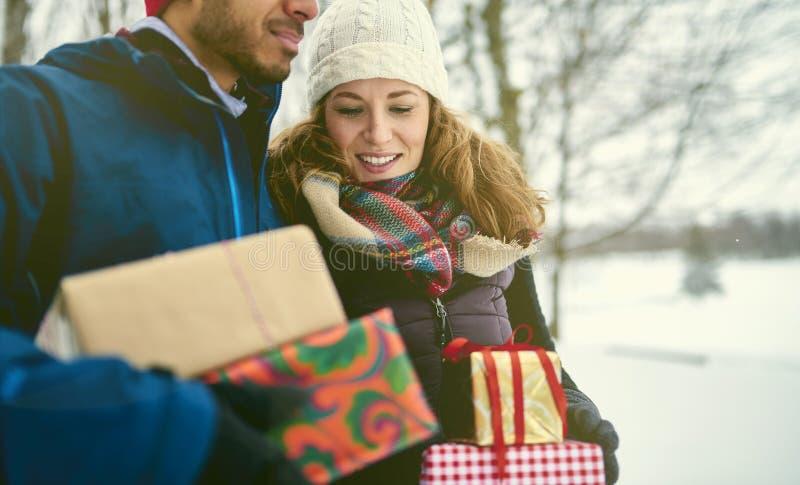 Het glimlachen stelt diverse Kerstmis van de paarholding terwijl het lopen door een de winterbos voor royalty-vrije stock foto's
