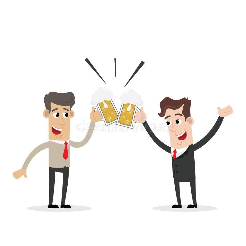 Het glimlachen twee zakenman het drinken bier en het roosteren vector illustratie