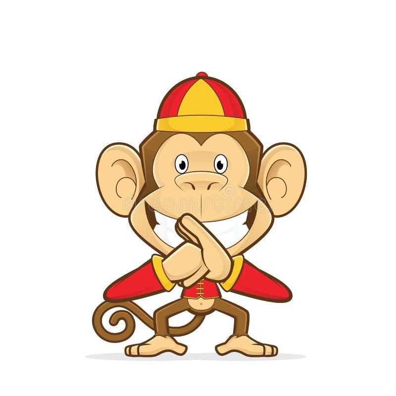 Het glimlachen van aap die traditioneel Chinees kostuum dragen vector illustratie