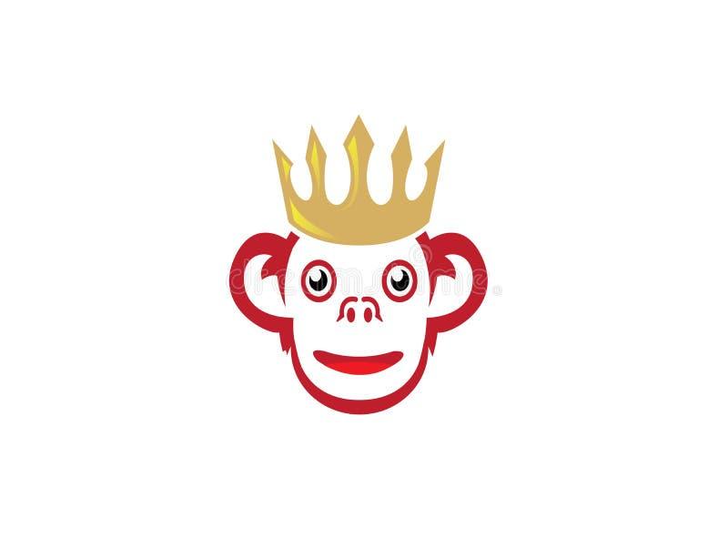 Het glimlachen van aap met gouden kroon op het hoofd voor embleemontwerp royalty-vrije illustratie