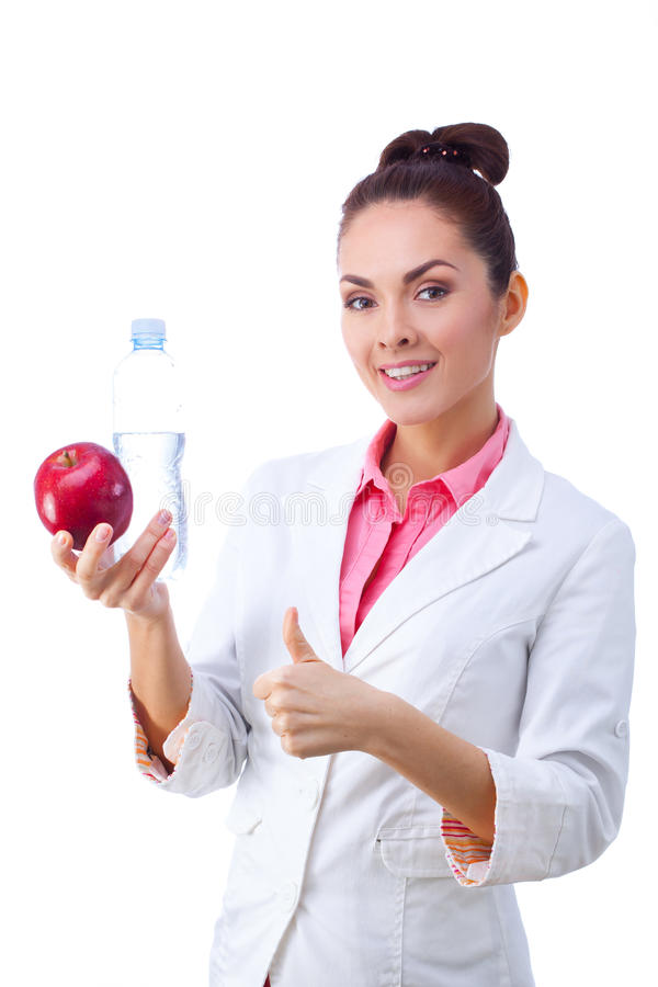 Het Glimlachen van artsennutritionist woman happy stock afbeelding