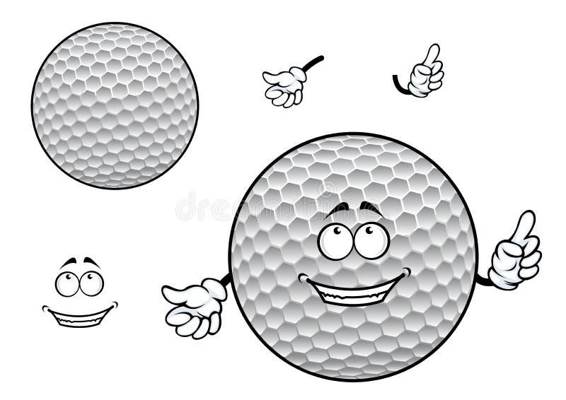 Het glimlachen van beeldverhaal deukte wit golfbalkarakter in royalty-vrije illustratie