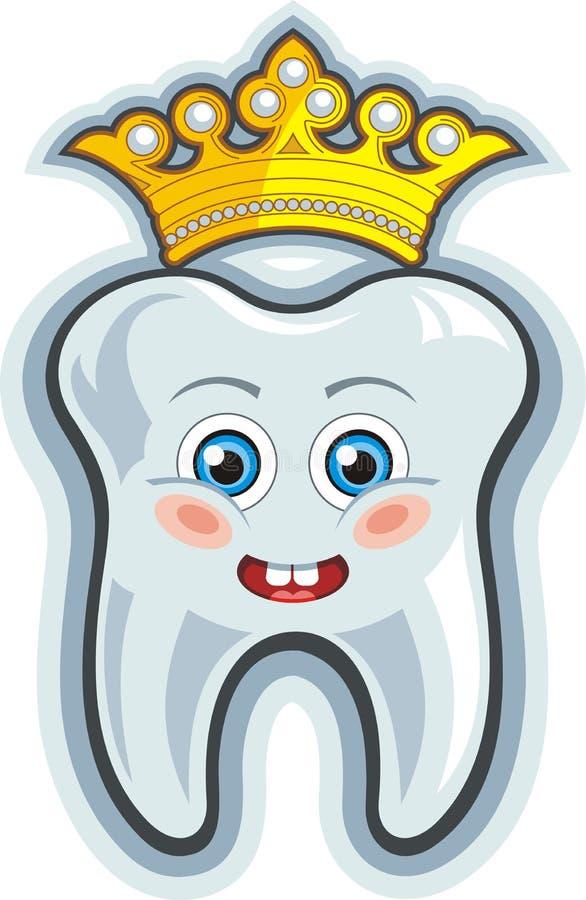 Het glimlachen van beeldverhaaltand met kroon royalty-vrije illustratie