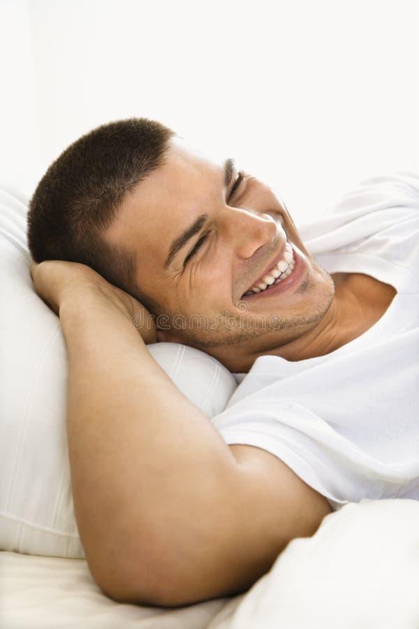 Het glimlachen van de mens. stock foto's