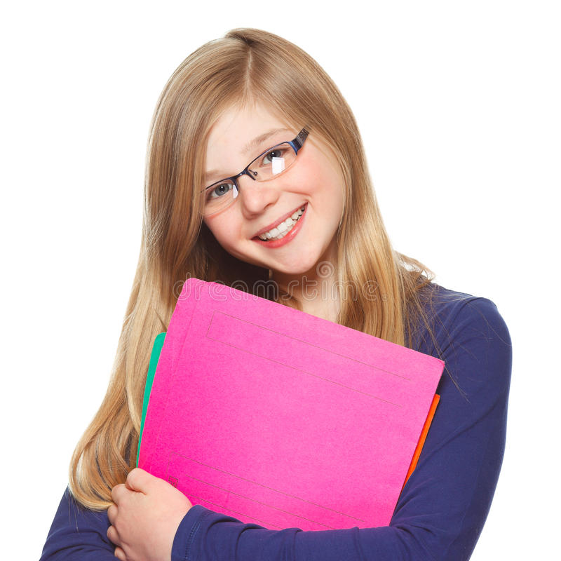 Het glimlachen van het schoolmeisje royalty-vrije stock afbeelding