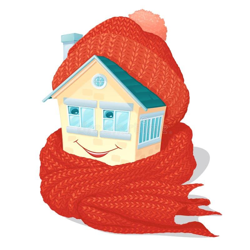 Het glimlachen van huis in een warm gebreid oranje GLB en een sjaal vector illustratie