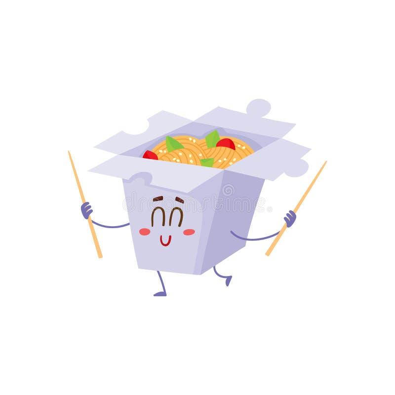 Het glimlachen van Japanse noedel in document vakje karakter met eetstokjes royalty-vrije illustratie