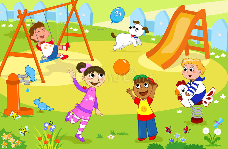 Het glimlachen van jonge geitjes die bij de speelplaats spelen vector illustratie